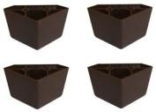 ProFurnitureParts 4.4cm Tall Triangle Corner Sofa Legs, Brown Colour, Set of 4, HDPE Plastic