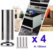 4x 150mm (Height) Cabinet Stainless Steel Legs Kitchen Feet Worktop TV Desk Table Legs Furniture Sofa Legs - Rubber Mat - Safe & Silent - Dia 50mm