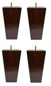 15cm Solid Wood Furniture Sofa/Chair/Ottoman Tapered Legs Walnut Finish [0.8cm Bolt] - Set of 4