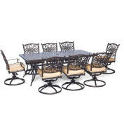 Hanover Traditions 9 Piece Dining Set with Eight Swivel Dining Chairs and a Large Dining Table, 210cm x 110cm