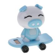 Dovewill Cute Solar Powered Skateboard Shaking Head Pig Doll Car Bobblehead Toy Car/Desktop Ornament Blue