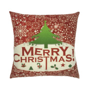 Inverlee Christmas Pattern Pillow Cases Linen Sofa Cartoon Cushion Cover Home Decoration