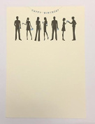 Happy Birthday Single Panel Cards with People Silhouettes (8) and Envelopes
