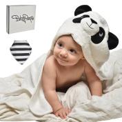 EXTRA absorbent Organic bamboo baby hooded bath towel - Super soft hooded towel gift set - Toddler bath Towel with Infant Bandana bib
