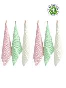 TotMart Muslin Cotton Washcloths, Extra Absorbent, Pink, 6 Pack