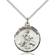 Sterling Silver Good Shepherd Pendant 2.2cm x 1.9cm with Sterling Silver Lite Curb Chain