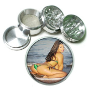 """Brazilian Pin Up Girls Brazil S6 Chrome Silver 2.5"""" Aluminium Magnetic Metal Herb Grinder 4 Piece Hand Muller Herb & Spice Heavy Duty 63mm"""