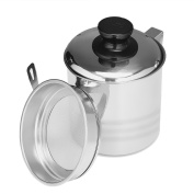 Uarter Superior Oil Strainer Pot Food-grade Grease Container Stainless Steel Oil Can with Lid and Fine Mesh Strainer, Suitable for Storing Frying Oil and Cooking Grease, 1200ml