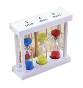 Set of 3 Creative Hourglass 3-5 Minutes Sand Glass Kitchen Timer,White