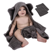 Premium Hooded Towel and 2 Washcloth Set, Made with 100% Organic Cotton, SUPER SOFT & THICK, Elephant Hooded Baby Towel, Sized for Baby and Toddler