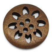 Jesica Retro Wood Snowflake Round Button For DIY Sewing Acccessories