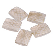 Faceted Texture - Rectangular Crafting Bead - 20mm x 25mm - Metallic Pearl / Gold - 3mm Opening