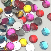 Dandan DIY 200pcs Multi-Colours Mix Lots Gems Acrylic Button 2 Holes for Sewing Girl Clothes Dress Decorations