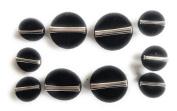 10 Black Velvet Buttons Set Half Ball with Silver Metal Bar Style , Blazer , Dresses, Sport Coat~.