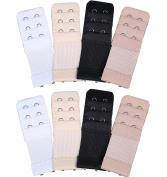 8 Pieces Soft Comfortable Bra Extender Bra Extension Strap, 3 Rows 2 Hooks