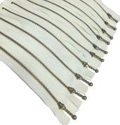 Metal Zippers 10 pcs - #3 Antique Brass Close-end, 12 Inch/30cm, White - by Beaulegan