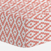 Carousel Designs Light Coral Aztec Diamonds Crib Sheet - Organic 100% Cotton Fitted Crib Sheet - Made in the USA