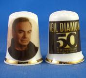 Porcelain China Collectable Thimble - Neil Diamond 50th Tour -- Free Gift Box