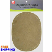 2 Fine Sew-On Natural Suede Elbow Patches 11cm x 15cm - Camel