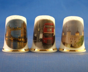Porcelain China Collectable Thimbles - Set of Three London Assorted