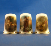 Porcelain China Collectable Thimbles - Set of Three Jesus Religious