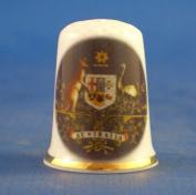 Porcelain China Collectable Thimble - National Emblem of Australia -- Free Gift Box
