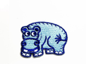 Hippo Blue Childrens Embroidered patch Ideal for adorning your jeans, hats, bags, jackets and shirts.