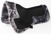 Horse English Quilted SADDLE Half Pad Correction Wither Relief Fur Black 12218GR