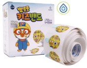 Pororo Character Round Adhesive Spot Bandage 100 pcs and Bonus a Pororo Cord or Earphone Organiser 1 pc and a Stickers