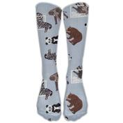 Cartoon Animal Athletic Tube Stockings Women's Men's Classics Knee High Socks Sport Long Sock One Size