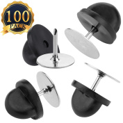 SUBANG 100 Tie Pin Backs 100 Pack Tie Tacks Blank Pins with 100 Pack PVC Rubber Pin Keepers