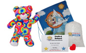 "Make Your Own Stuffed Animal ""Rainbows the Bear"" - No Sew - Kit With Cute Backpack!"