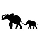 Pack of 3 Elephant and Baby Elephant Stencils Made from 4 Ply Mat Board 11x14, 8x10, 5x7