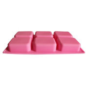 BAKER DEPOT 6 Holes Oval and Rectangular Silicone Mould For Handmade Soap Making, Set of 2