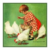 Girl feeding Chickens By Jessie Willcox Smith Counted X Stitch Pattern