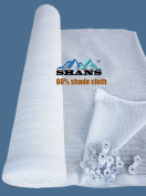 SHANS 60% UV Resistant Fabric Shade Cloth Pure White With Clips Free