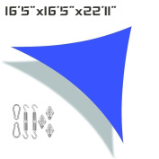 Unicool Deluxe Right Triangle 4.9m x 4.9m x 6.7m Sun Shade Sail UV Block Outdoor Patio Canopy Top Cover W/Hardware Kit Blue
