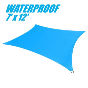 ColourTree 100% BLOCKAGE Waterproof 2.1m x 3.7m Sun Shade Sail Canopy Rectangle Blue - Commercial Standard Heavy Duty - 190 GSM - 4 Years Warranty
