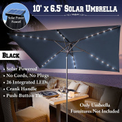 NEW 3mx2m OUTDOOR SOLAR POWERED 26 LED LIGHTS PATIO UMBRELLA RECTANGLE SUNSHADE-BLACK