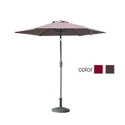 Caymus 2.4m Market Outdoor Table Patio Umbrella with Push Button Tilt and Crank,6 Ribs,Coffee Brown
