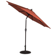 Sundale Outdoor 2.5m Olefin FadeSafe Fabric Solution Dyed and UV Resistant Patio Garden Outdoor Market Umbrella with Auto Tilt and Crank, Brick Red