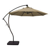 Phat Tommy 2.7m Cantilever Offset Aluminium Market Patio Umbrella with Tilt – For Shade and Outdoor Living, Champagne