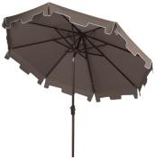 Safavieh Outdoor Collection Zimmerman Crank Market Umbrella with Flap, 2.7m, Grey
