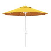 California Umbrella 2.7m Round Aluminium Pole Fibreglass Rib Market Umbrella, Crank Lift, Collar Tilt, White Pole, Sunbrella Sunflower Yellow