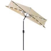 2.7m 5-rib Patio Half Wall Market Umbrella Beige w/ LED Lights