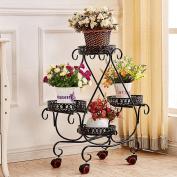 Tie - Style Wheel Flower Stand Floor - Style Flower Bed Frame Living Room Balcony Shelf