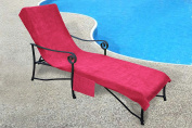 Pool Side 1000-Gramme Chaise Cover, Pool lounge Chair Cover with 25cm Slip-on Back and Side Pocket Pink