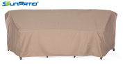 SunPatio Outdoor Curved Sectional Sofa Cover, Lightweight, Water Resistant, Eco-Friendly, Helpful Air Vent, All Weather Protection, Beige, 260cm L/150cm x 90cm W x 100cm H