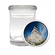 Famous Landmark Acropolis Athens Greece S2 Medical Glass Stash Jar Air Tight Lid 7.6cm x 5.1cm Small Storage Herbs & Spices