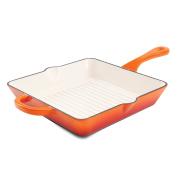 Crock Pot 111995.01 Artisan Enamelled Cast Iron Square Grill Pan, 25cm , Sunset Orange